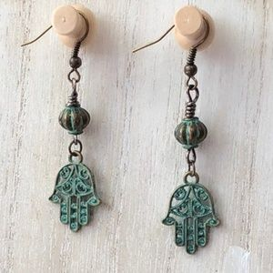 Handmade Turquoise Filigree Hamsa Lantern Earrings